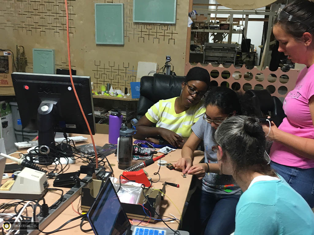Charlottesville Women In Technology Hanging Out at Tinkersmiths Makerspace